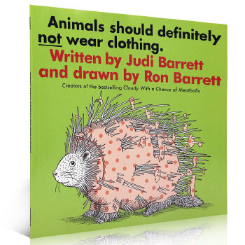 英文原版绘本 Animals Should Definitely Not Wear Clothing 动物不穿衣服 吴敏兰书单张湘君推荐儿童启蒙类故事书阅读培养图画书家长们推荐的经典有趣故事书图像与文字搭配,充分展现出幽默感;且其中融合了动物的特性