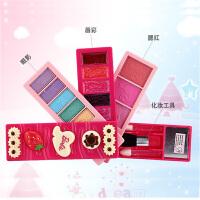 儿童化妆品套装女孩公主化妆盒旋转彩妆玩具眼影腮红唇彩
