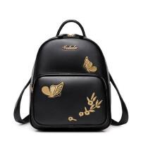 新款双肩背包刺绣百搭女生书包学院风背包旅行包潮