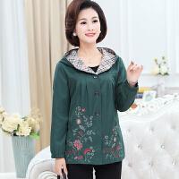 中年妇女装秋装新款夹克绣花外套40-50岁中老年风衣妈妈长袖上衣
