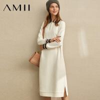 【到手价:179元】Amii极简法式休闲学院风连衣裙女2019冬新款撞色条纹抓毛卫衣裙子