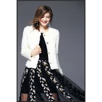 67065欧美秋冬新款女时尚潮人女装经典短款小香风上衣毛毛小 白色