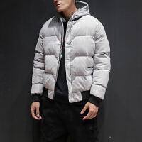 男士韩版休闲棒球领短款棉衣 冬季韩版修身青年加厚外套 浅灰色