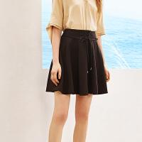 A21夏季新款高腰短裙女 弹性绑带裙子A字裙小清新学生女士下装