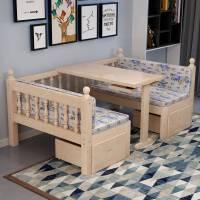 实木儿童床女孩单人床书桌床拼接床男孩小床加宽带护栏宝宝床拼床
