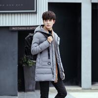 新款冬季男装羽绒服男 中长款修身款韩版加厚青年羽绒服外套 灰色 M/0
