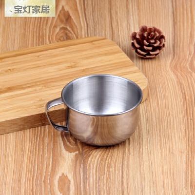 不锈钢水杯带盖勺子茶杯带手柄家用口杯幼儿园儿童早餐牛奶杯碗