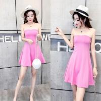 服装女主播上镜衣服一字领露肩抹胸粉色显瘦包臀连衣裙