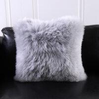 �W式��s�羊毛抱枕沙�l靠�|羊毛靠�|羊毛真皮黑白灰含芯靠�| NZ靠�| 50x50cm