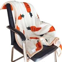 双层毛毯加厚冬季小毛毯午睡毯办公室空调毯单人双人毛毯被子萝卜 米白色 可爱萝卜