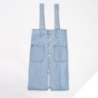 牛仔半身裙2018百搭新款高腰修身腰带显瘦背带包臀中长款个性包裙 浅蓝色