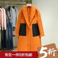 毛呢外套女冬装新款 西装领贴布百搭中长款一粒扣呢子大衣