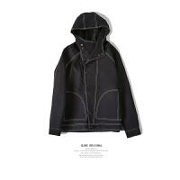 原创秋冬欧美个性明线廓形宽松运动夹克潮男街头巫师连帽外套 黑色