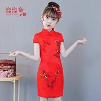 新款中国风红色女童唐装短袖连衣裙小女孩古筝公主裙儿童旗袍女夏