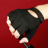 健身房手套男女半指开车骑行钢管舞手套防滑训练哑铃露指手套薄 黑色