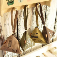 韩国可爱创意钱包帆布复古粽子零钱包硬币包