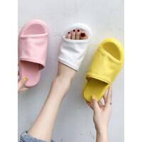 韩版简约一字休闲度假沙滩凉拖鞋可外穿厚底露趾凉拖鞋女