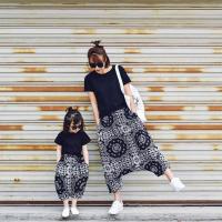 韩版亲子装夏季母女装套装男女童短袖T恤宽松哈伦裤裤母子套