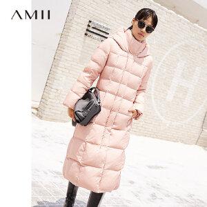 Amii冬装新款黑白色外套过膝修身长款90绒连帽羽绒服女