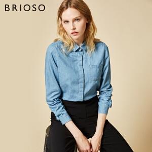 BRIOSO 女士牛仔衬衫 秋季新款暗门襟小尖领长袖衬衫 小清新纯色韩版百搭衬衣女潮 WE20695