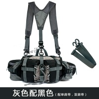 户外腰包多功能旅行装备男女款登山运动旅游水壶骑行背包防水 黑 配单双肩带