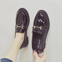 新款学院风女士单鞋 英伦风一脚蹬平底女鞋 ins复古黑色小皮鞋女亮皮