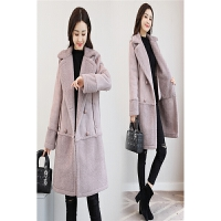 鹿皮绒大衣外套毛呢外套女中长款冬装新款仿皮毛一体学生女装