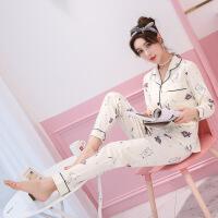 新品韩版女士睡衣秋冬季长袖纯棉批发卡通可爱休闲家居服两件套装