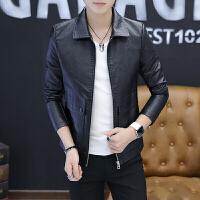 秋季韩版修身夹克男新款青年帅气潮牌PU外套发型师个性皮衣机车服 黑色 5