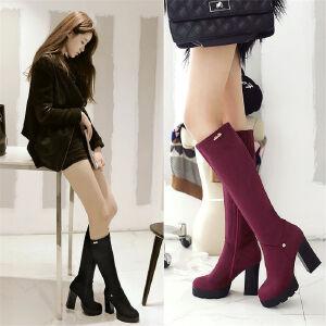 O'SHELL欧希尔新品133-X62欧美磨砂绒面粗跟高跟女士长筒靴