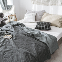 家纺日式简约水洗棉全棉夏被夏凉被 可水洗条纹格子纯棉空调被薄被子