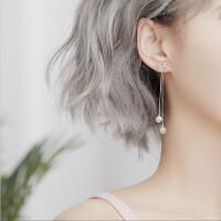 冷淡风耳环银女长款韩国气质个性百搭一款两戴潮人耳钉耳坠 二合一蝴蝶结耳饰(耳环+耳钉)