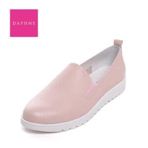 Daphne/达芙妮   平底真皮乐福鞋低跟圆头套脚深口女单鞋10 101019