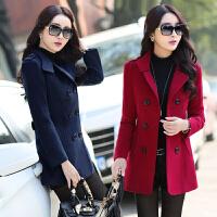 妈妈装秋冬季短款风衣30-40-50岁中老年时尚毛呢外套中年妇女上衣