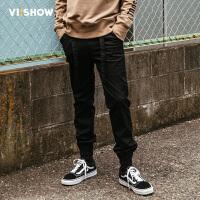 VIISHOW2017秋装新品休闲长裤男纯黑色束脚男士裤子小脚裤青年