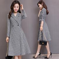 秋季长袖连衣裙式风衣韩版收腰系带修身中长款黑白格子外套女 黑白色 黑白格子