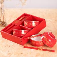 结婚庆用品创意回礼龙凤喜字碗碟套装陶瓷餐具婚礼礼物碗筷礼盒装