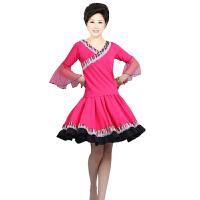 广场舞服装套装 舞蹈练习套装 民族风格大摆裙裙子 跳舞服健身服短袖上衣裙子