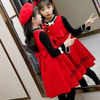 女童裙子套装童装冬裙儿童时髦洋气秋冬装红裙