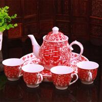 结婚庆用品景德镇陶瓷中国红婚礼敬茶杯茶具茶壶套装结婚礼物品 鸳鸯敬茶套装