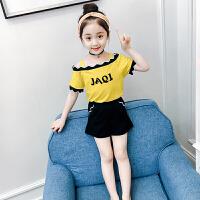 童装夏装女童套装洋气新款韩版儿童一字肩吊带T恤短裤两件套装