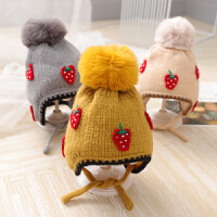 婴儿帽子秋冬季新生幼儿童帽护耳毛线帽