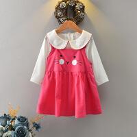 童装儿童裙娃娃领长袖女宝宝裙子秋冬装娃娃领女童可爱百搭连衣裙 粉红色