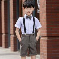 儿童礼服西装 男童短裤背带套装演出服夏 褐色短裤背带装