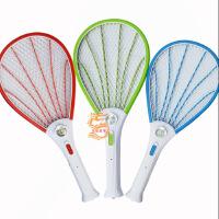 电蚊拍 充电式打蚊子拍带LED灯灭蚊拍电子苍蝇拍大号三网 颜色随机