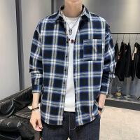 新款长袖男士衬衫格子韩版潮流帅气青少年学生休闲衬衣男寸衣