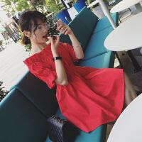 一字肩连衣裙夏装2018新款韩版学生修身收腰显瘦红色露肩裙子女夏