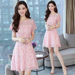 2018新款女装蕾丝连衣裙复古修身短袖夏季裙子时尚圆领a字裙