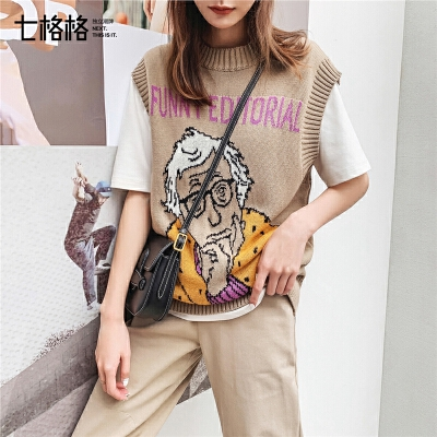 七格格套头针织衫毛衣女秋装2019新款潮韩版夏季印花马甲背心外套
