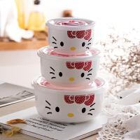 陶瓷保鲜碗三件套带盖便当盒微波炉饭盒冰箱收纳盒大号泡面碗套装 红袋+碗